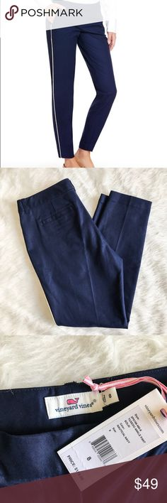 """Vineyard Vines Tuxedo Ankle Pants Navy What's more fun than an evening out at the resort? Showing up in a pair of our slim-silhouette women's pants! Enjoy the night!  Fabrics: · Self: 97% cotton, 3% spandex  · Trim: 57% cotton, 26.5% silk, 16.5% lurex   Features: · Gold jaquard lurex piping · Straight leg · Front zipper, hook and bar clasp  · Side and back pockets  · Inseam: 28"""" (based off size 6)  · Imported Vineyard Vines Pants Ankle & Cropped"""