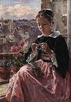 Marie Aimée Lucas-Robiquet (French, 1858-1959) A young Breton girl knitting by a window