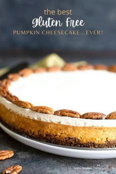 This homemade gluten free pumpkin cheesecake is a show stopper that tastes like it came from a bakery. Easy step by step directions, everyone will love this creamy cheesecake made from scratch! Perfect for fall and Thanksgiving! fearlessdining