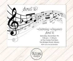 Music Notes Invitation Musical Party Sheet Music by PixieInkPrints