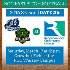 The RCC Gulls are home Saturday March 19 at Noon vs @odusports and @novanighthawks at our Warsaw Campus. #softball #nnk #northernneck #northernneckva #middlepeninsula #softballlife #fastpitch #rappahannock #community #college #comm_college #instacollege