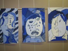 ~Express Yourself~: Pablo Picasso Blue and Rose Periods inspired Grade Art Picasso Rose Period, Picasso Blue, Picasso Art, Picasso Paintings, Pablo Picasso, Picasso Portraits, 2nd Grade Art, Virtual Art, Art Lessons Elementary