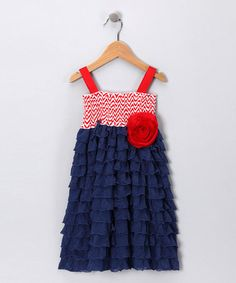 Take a look at this Navy & Red Chevron Smocked Ruffle Dress - Toddler & Girls by Million Polkadots on #zulily today!