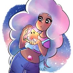 """naomao: """" more pastel stevonnie ft some space ✨⭐ """" << this looks more like a crossover with Rosalina and her stars from Super Mario Galaxy"""