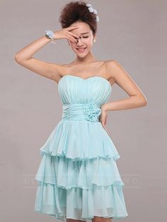 Strapless Pleated Cocktail Dress 150601tb03