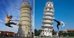 Al igual que sucede con otros grandes monumentos, sujetar la torre de Pisa es algo que intentan en sus fotografías la mayoría de los turistas que la visitan