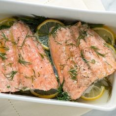 Baked Salmon with Lemon and Dill. Rub fish with olive oil and season lightly with salt and pepper. Lay in baking dish, on a bed of lemon slices and dill. Sprinkle with chopped dill. Add a half cup of (Baking Salmon With Vegetables) Dill Recipes, Seafood Recipes, Low Carb Recipes, Cooking Recipes, Healthy Recipes, Pureed Recipes, Shellfish Recipes, Atkins Recipes, Diabetic Recipes