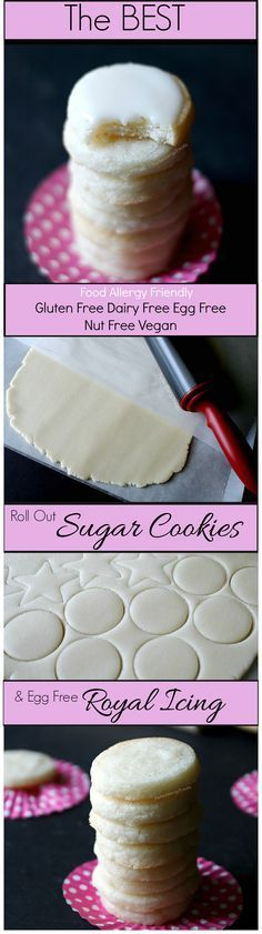 Gluten Free Sugar Cookies Recipe w/ egg free Royal Icing (Vegan dairy free egg free)- Easy roll out sugar cookies! Perfect for Christmas. Food Allergy friendly.