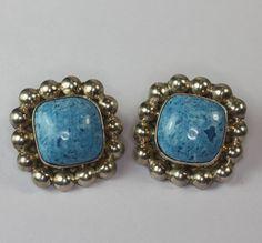 Vintage Mexican Earrings Sterling Blue Art Glass by PastSplendors, $21.00