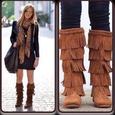 New Minnetonka 5 Fringe Boots Moccasins Embellish