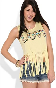 """Deb Shops fringe bottom tank top with floral """"love"""" screen $9.99"""
