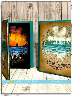 Day at the Beach, cards using an older #heroarts kit, #Picketfencestudio life changing​ blending  #distressoixde inks,