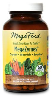MegaFood-MegaZymes..This vegetarian digestive formula provides a broad spectrum of natural digestive enzymes to help you derive maximum nutritional benefit from the foods you eat. Gentle botanicals traditionally used to sooth digestive discomfort and stimulate healthy digestive activity also included to support optimum digestive function