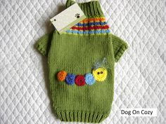 Appliqued Dog Sweater Full Length Colorful Pet by dogoncozy