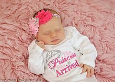Newborn Baby Girl Clothes Princess Has Arrived Baby Girl Gown or Bodysuit Headband Option Newborn Coming Home Outfit Baby Girl Gift Set by mamabijou on Etsy https://www.etsy.com/listing/207344259/newborn-baby-girl-clothes-princess-has