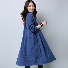 964b1c7e4a MIVI Women s Long Knitted Sweaters Autumn Winter Thick Cardigan Scarf Collar  Long Sleeve Female Coat Solid