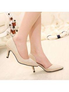 Latest Fashion Charming Popular Joker Solid Color Sharp Toe Thin Heels