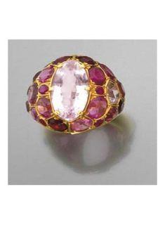 Pink beryl, tourmaline, garnet, ruby and pink sapphire ring  by Suzanne Belperron
