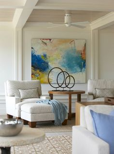 Farm Neck > Hutker Architects — Martha's Vineyard, Cape Cod and Nantucket (I don't like the artwork on the wall or the sculpture on the table, but those chairs and ottoman looks awfully cozy.)   abstract colorful artwork in neutral living room   metal contemporary sculpture   home decor ideas   stylish living room with sitting area   high ceiling   residential interior design