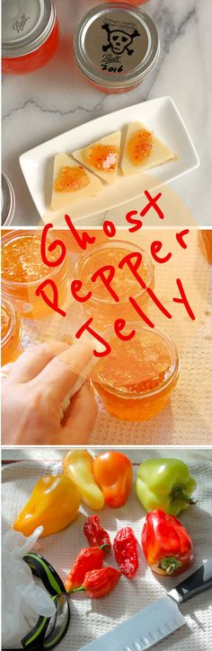 Pepper Jelly – Bhut jolokia Jelly Sweet-Hot Ghost Pepper Jelly is easy to make and it's not THAT hot.Sweet-Hot Ghost Pepper Jelly is easy to make and it's not THAT hot. Hot Sauce Recipes, Jam Recipes, Canning Recipes, Habanero Recipes, Canning Tips, Cooker Recipes, Pepper Jelly Recipes, Hot Pepper Jelly, Sauces