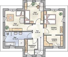 Haus Modern city villa with two bay windows SOLERA Dream House Exterior, Dream House Plans, Modern House Plans, Basement Furniture, Basement Inspiration, Modern City, Floor Plans, Bay Windows, Bay City