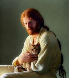 Stock Photo of portrait old red hair redhead beard long cat hippie animals Ginger Men, Ginger Beard, Ginger Hair, Hair And Beard Styles, Long Hair Styles, Red Hair Men, Grey Hair, Men With Cats, Long Cat