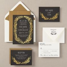 Foil Stamped Scallops Wedding Invitation Rose Tyler Paper