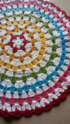 GRANNY CIRCULAR - Must try for beginners in crochet Instructions to create beautiful doily. Must try for beginners in crochet. Explore the joy of creating. Crochet Mat, Crochet Rug Patterns, Crochet Mandala Pattern, Crochet Shell Stitch, Crochet Circles, Granny Square Crochet Pattern, Crochet Round, Crochet Squares, Crochet Designs