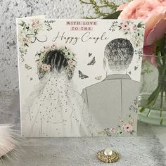 with Love to The Happy Couple - Handfinished Wedding Card with Crystals Office Branding, Card Companies, Vows, Wedding Cards, Beautiful Flowers, Butterflies, Envelope, Groom, Presents