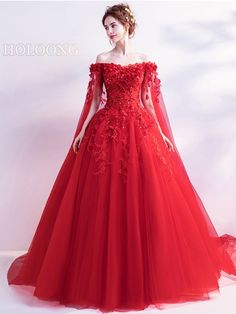 New Images Trailing dress Flowers Chic / modern Long Chinese Red Wedding Dresses Concepts Lovely Wedding Dresses ! The existing wedding dresses 2019 consists of a dozen different dresses in Red Wedding Gowns, Colored Wedding Dresses, Wedding Dress Styles, Bridal Dresses, Dress Wedding, Bridesmaid Dresses, Red Ball Gowns, Red Gowns, Ball Dresses
