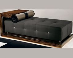 MACASSAR EBONY BENCH ART D515 - Macassar ebony bench with one arm end D509 chaise longue. See also chaise longues.