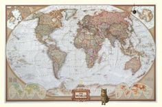 National Geographic grote wereldkaart antiek kingsize geplastificeerd