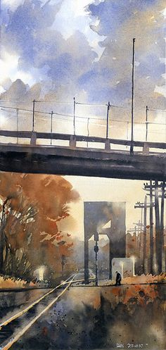 "Walking the Tracks by Iain Stewart Watercolor ~ 20"" x 10"""
