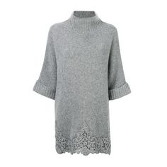 ERMANNO SCERVINO Cropped Sleeves Jumper (97.805 RUB) ❤ liked on Polyvore featuring tops, sweaters, grey, jumper top, jumpers sweaters, gray sweater, grey sweater and grey top