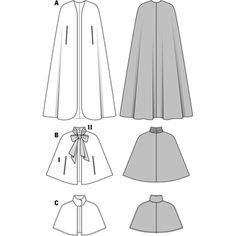 View B in plaid with satin ribbon Simplicity Creative Group - Burda Style Capepattern for cape Burda costume: Cloak, maybe remove front panels from A and stick B on top?Matching companions for your evening dress: the long plain velvet cape, Diy Clothing, Sewing Clothes, Clothing Patterns, Dress Patterns, Sewing Coat, Coat Patterns, Costume Chevalier, Hooded Cape Pattern, Cape With Hood Pattern