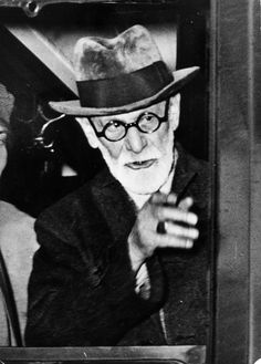 """Sigmund Freud on board of Orient Express train leaving Vienna for exile""  Photo: unknown  Austria - Vienna, Westbahnhof, 1938"