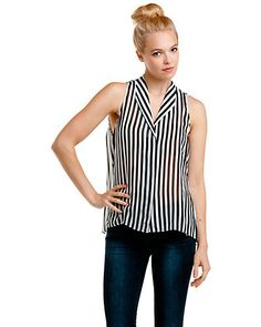 """Some of you have to get in on this: Jeunesse """"Fanny"""" Lunar & Black Stripe Sleeveless Silk Top"""