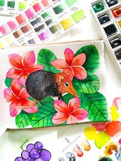 Watercolor Painting of elephant shrew on khadi paper Elephant Shrew, Watercolour Painting, Paper, Watercolor