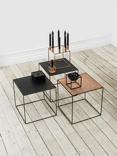 Modern and contemporary Danish and Scandinavian style Copper and Metal Side Tables. Contemporary Interior Design, Contemporary Furniture, Cool Furniture, Furniture Design, Geometric Furniture, Plywood Furniture, Kitchen Furniture, Coffe Table, Dining Table