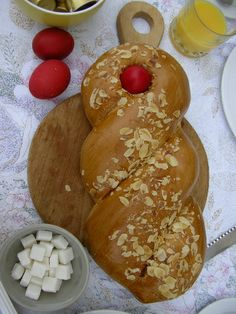 Tsoureki is a traditional Greek Easter bread. Red eggs are always woven into the dough, a practice that probably dates back to very ancient times.