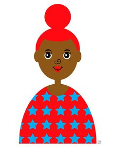 Girl 4 Art Print Girl in star sweater by Tabitha Brown