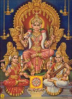 Deuses: Shiva, Parvati e Ganesh. Parvati, esposa de Shiva, era a filha das montanhas do Himalaia e irmã do rio Ganges. Com amor, afastou Shiva de seu ascetismo. Representa a unidade de deus e deusa, do homem e da mulher.