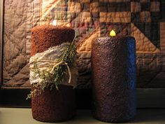 Simply Prim: Sneak Peak of Outside/Grungy Candle Tutorial {use Dollar Store candles to make primitive looking candles - 2 tutorials - pillar and tapers} Primitive Candles, Primitive Crafts, Country Primitive, Primitive Christmas, Country Christmas, Primitive Snowmen, Wooden Snowmen, Primitive Shelves, Primitive Lighting