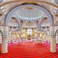 Inside the Kocatepe Mosque, Ankara, Turkey
