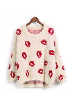 Red Lips Fluffy Sweater:: Lipstick Sweater