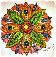 Hand drawn and watercolored Mandala Sticker by MeepRamey on Etsy, $4.00