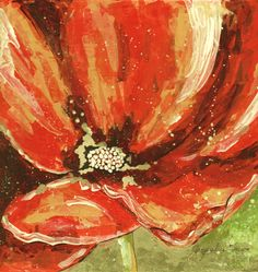 Orange Poppy - Mixed Media Collage 9X9 by Jacqueline Brown