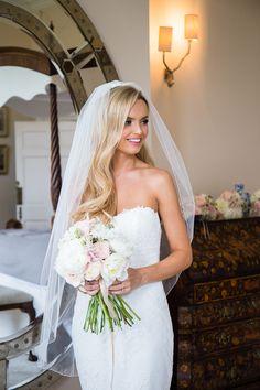 Elegant Bride in Pronovias Wedding Dress - Jo Hastings Photography | Romantic Blush Pink Wedding at Iscoyd Park in Shropshire | Pronovias Bridal Gown | Debenhams Bridesmaid Dresses | Hugo Boss Suit