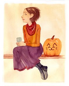 Just a quick update with a water color warm up from the other day. I love doing these in the morning to loosen up a bit. This is the best time of year for anything pumpkin related. by artist. Halloween 2013, Happy Halloween, Fall Cats, Happy Fall Y'all, Simple Pleasures, Illustration Art, Illustrations, Disney Characters, Fictional Characters