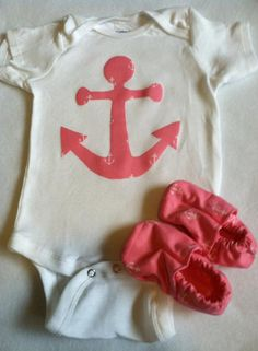 Baby Girl Anchor Nautical Clothing Set with Onesie and Shoes with FREE SHIPPING via Etsy